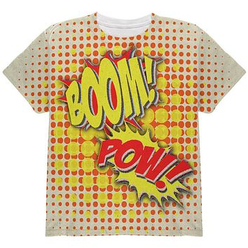 Halloween Boom Pow Vintage Comic Book Costume All Over Youth T Shirt