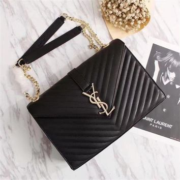 VOND4H YSL Saint Laurent black Chevron Matelasse College Monogram Bag