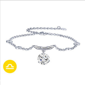 925 Sterling Silver 12 Constellations Zodiac Pendant Crystal Bracelet (Libra)
