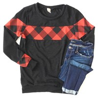 Buffalo Plaid Accent Black Sweater
