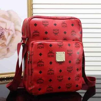 PEAPJ1A MCM Stylish Retro Leather Shoulder Bag Crossbody Satchel Red I