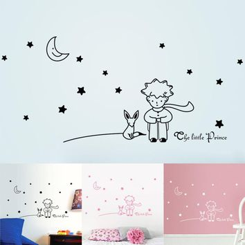 Happy Decorative Three Colors DIY Wall Stickers Stars Moon The Little Prince Boy Home Decor Wall Decals