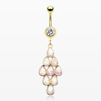 Golden Iridescent Bubble Chandelier Belly Button Ring
