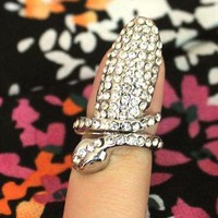 Silver Crystal Snake Wrap Finger Nail Ring Above The Knuckle from loveheartsandcrosses
