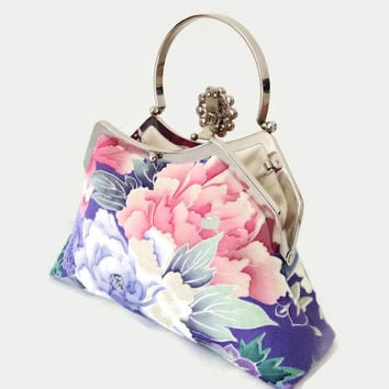 "Lilac Silk Clutch Purse With A Peony Floral Design, Bridesmaid Flowery Clutch Purse, Summer Clutch Bag Made From Japanese Silk 9"" x 5.5"""