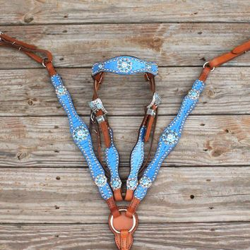 Lt Blue Gator/Tan Leather Browband Tack Set w/ AB & Aqua Crystal Rhinestone Conchos