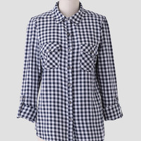 Highest Peak Gingham Button-Up