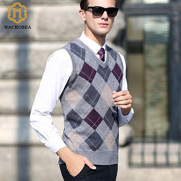 MACROSEA Autumn&Winter Men's Business Wool V-neck Sleeveless Knitted Vest Leisure Style Casual Pullover High Quality Sweater