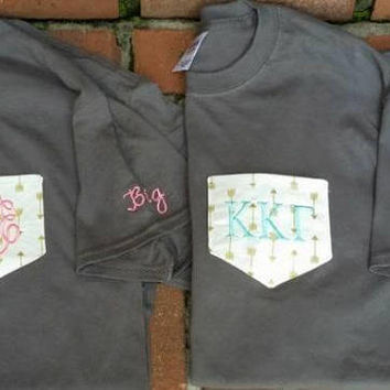 Sorority shirts / Monogram Clothing / pocket shirts / Embroidered pocket shirts / initials shirts / Gifts
