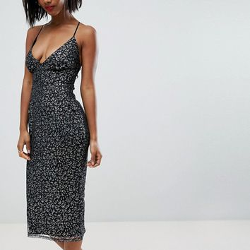 ASOS Metallic Glitter Mesh Cami Pencil Midi Dress at asos.com