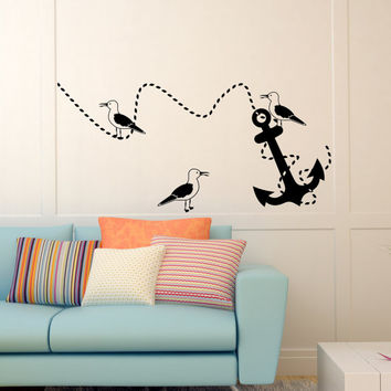 Nursery Wall Decals Anchor Decal Kids  Seagulls Vinyl Stickers Home Bedroom Bathroom Nautical Decor  T43