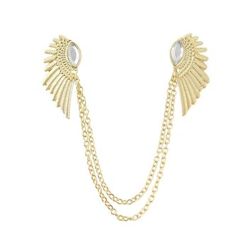 Lg-Gold Rhinestone Angel Wing Necklace