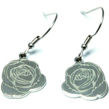 Rose Shaped Polished Stainless Steel Earrings
