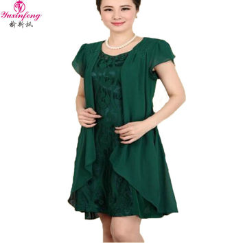 Dmart7deal Middle aged Plus Size Women Summer dresses lace Patchwork short-sleeved Loose Dresses  40-60 year old chiffon dress XL-6XL