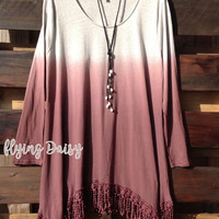 Mia Wine Ombre Fringed Tunic Top