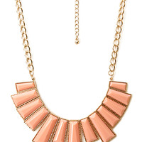 FOREVER 21 Faux Gemstone Bib Necklace Gold/Peach One
