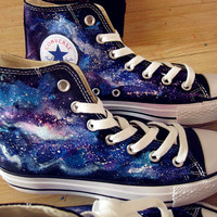 galaxy converse Custom galaxy converse hand painted shoes galaxy shoes converse custom painted shoes mens(2 version)