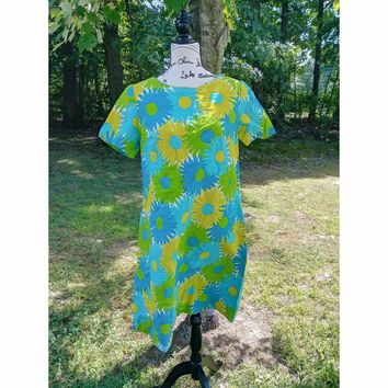 Women's Authentic Vintage Homemade 60s Sunflower Day Dress