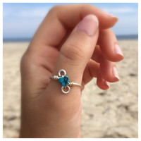 Silver Wire Wrapped Turquoise Heart Ring, Thumb Ring, Choose Size
