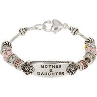 Heirloom Finds Gorgeous Mother Daughter Pink and Red Enamel European Bead Bracelet