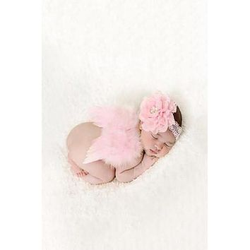 Pink Feather Angel Wings With Lace Flower Headband Newborn Baby Prop - CCW211