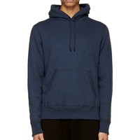 Rag And Bone Blue Fleece And Suede Jameson Hoodie