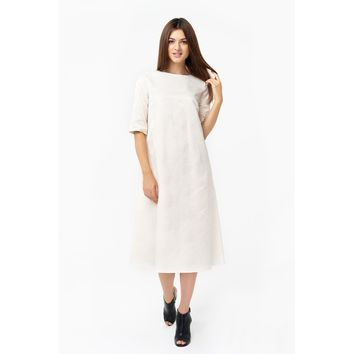 White Sleeves Jacquard Dress
