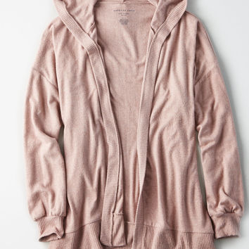AE Slouchy Hooded Cardigan, Blush