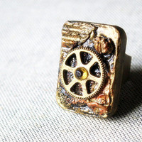 The spaceship  fragment -  Altered Art Mixed Media Sculpture statement ring  - Prometheus Collection - Art jewelry