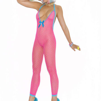 Crochet bodystocking with peek-a-boo back  Neon Pink One Size