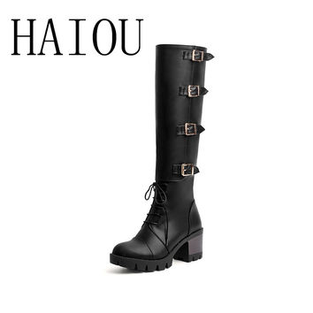 HAIOU brands 2017 leather brown boots woman knee high boots lace up ladies winter boots with zip black high heels shoes buckle
