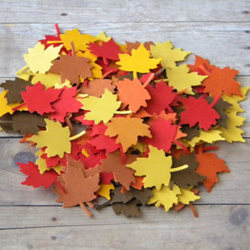 200 Thanksgiving Table Dressing Fall Autumn Harvest Maple Leaves Burnt Orange, Marigold, Yellow, Red, Brown