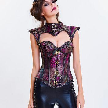 Brown Floral Retro Gothic Steampunk Corset Spiral Steel Boned Corset Women Burlesque Armor Bustier With Shoulder Bolero Corselet