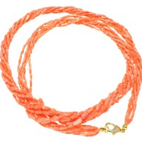 """GENUINE NATURAL (NOT ENHANCED) PINK CORAL 6 STRAND BRAIDED NECKLACE 8MM 24"""""""