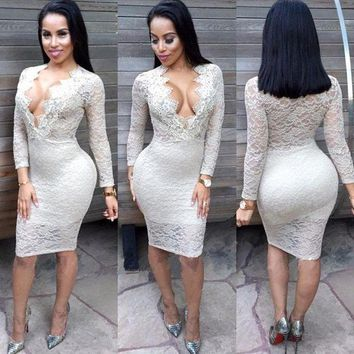 LMFONS Fashion Bodycon Deep V-Neck Long Sleeve Perspective Hollow Lace Mini Dress