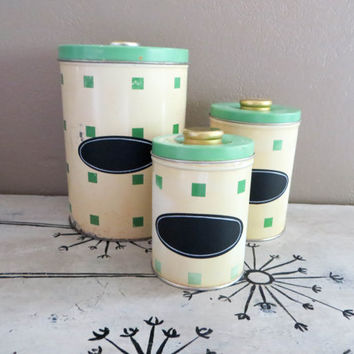 Canister Set Green Canisters Metal Canisters Shabby Chic Canisters Kitchen  Storage Green Kitchen Cottage Kitchen