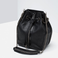STUDS AND CHAINS BUCKET BAG
