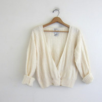 Vintage white Beaded Cardigan Sweater. Lambswool and Angora sweater. Size M