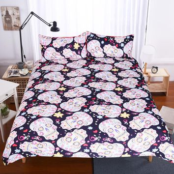 BeddingOutlet 3Pcs Sugar Skull Duvet Cover With Pillowcases Halloween Home Bedding Set Queen King Flower Soft Quilt Cover