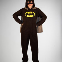 Batman Footed Hooded Adult Caped Pajamas