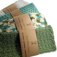 Sage Green, Ivy League, White, & Sea Spray/Teal, Set of 4, 100% Cotton, Hand-Crocheted Washcloths, Bath Towel Set, Cotton Dish Cloths