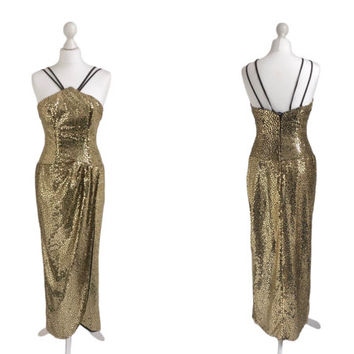 Alfred Angelo Evening Dress - Gold Sequin Old Hollywood Vintage Dress - Cocktail Party Prom Dress