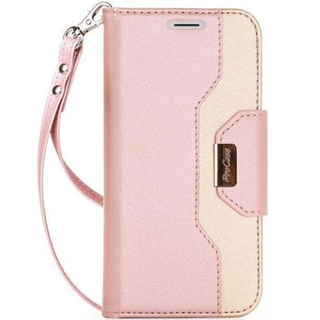 ONETOW ProCase iPhone X Wallet Case, Flip Kickstand Case with Card Slots Mirror Wristlet, Folding Stand Protective Cover for Apple iPhone X / iPhone 10 (2017 Release) -Pink