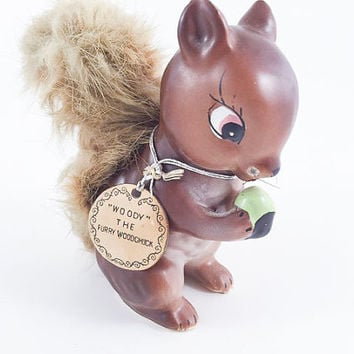Vintage Squirrel Figurine Fluffy Squirrel Kitschy Squirrel Figurine Woody The Furry Woodchuck Kitsch Mid Century Fall Decor