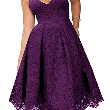 Purple Lace V Neck Backless A-Line Cocktail Party Dress