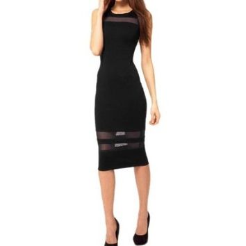 Moonar Lady's Sleeveless Black Mesh Evening Slim Designer Dresses Cocktail Dresses