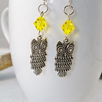 Women's Owl Earrings with Yellow Swarovski Crystals Crystals