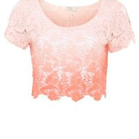 New Look Mobile | Cameo Rose Coral Ombre Crochet Crop Top
