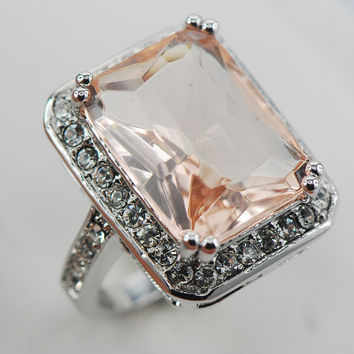 Pink/White Morganite Ring - the ring of romance