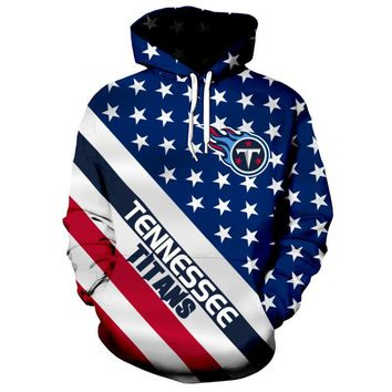Fashion 3D hoodies American flag printed NFL football sweatshirt pullover streetwear Tennessee Titans